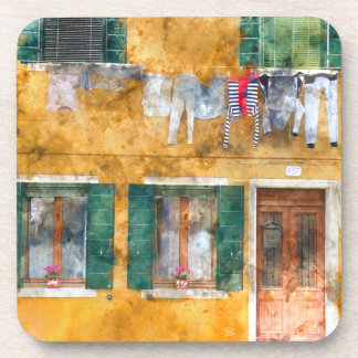 Clothesline on a Building in Burano Italy Drink Coasters