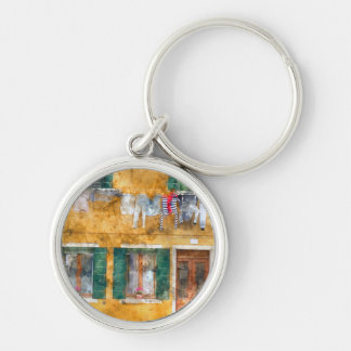 Clothesline on a Building in Burano Italy Silver-Colored Round Keychain