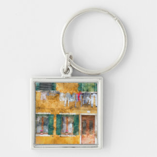 Clothesline on a Building in Burano Italy Silver-Colored Square Keychain