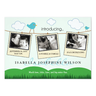 Clothesline Polaroids Birth Announcement (blue)