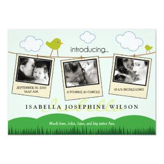 Clothesline Polaroids Birth Announcement (lime)