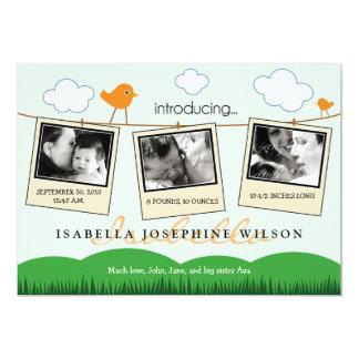 Clothesline Polaroids Birth Announcement (orange)