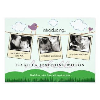 Clothesline Polaroids Birth Announcement (purple)