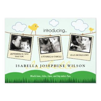 Clothesline Polaroids Birth Announcement (yellow)