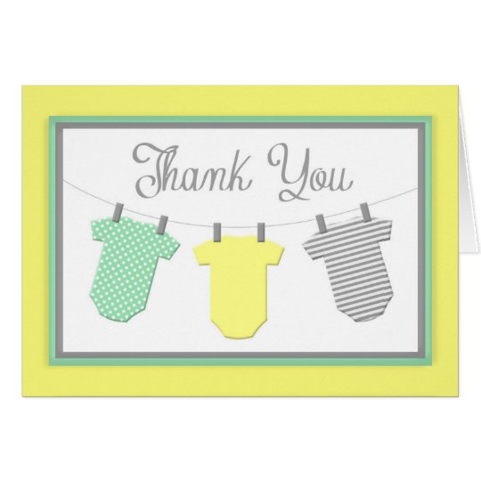 Clothesline Yellow & Aqua Baby Shower Thank You Card