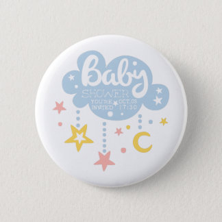 Cloud And Stars Baby Shower Invitation Design Temp 2 Inch Round Button
