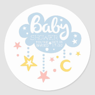 Cloud And Stars Baby Shower Invitation Design Temp Classic Round Sticker