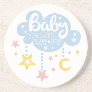 Cloud And Stars Baby Shower Invitation Design Temp Coaster