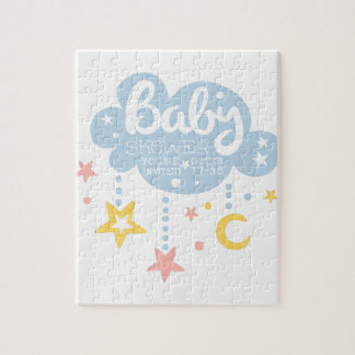 Cloud And Stars Baby Shower Invitation Design Temp Jigsaw Puzzle