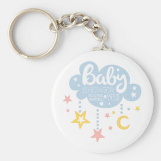 Cloud And Stars Baby Shower Invitation Design Temp Keychain