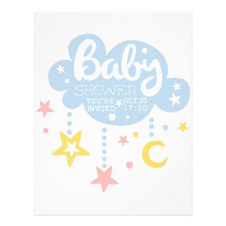 Cloud And Stars Baby Shower Invitation Design Temp Letterhead