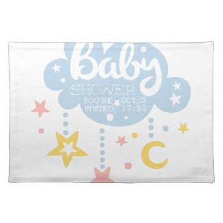 Cloud And Stars Baby Shower Invitation Design Temp Placemat