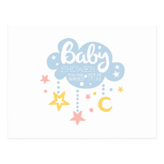 Cloud And Stars Baby Shower Invitation Design Temp Postcard
