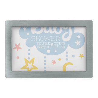 Cloud And Stars Baby Shower Invitation Design Temp Rectangular Belt Buckles