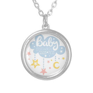 Cloud And Stars Baby Shower Invitation Design Temp Silver Plated Necklace