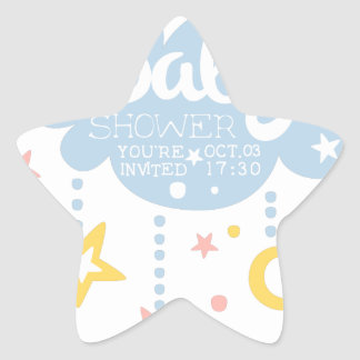 Cloud And Stars Baby Shower Invitation Design Temp Star Sticker