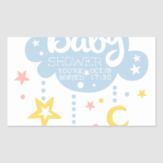 Cloud And Stars Baby Shower Invitation Design Temp Sticker