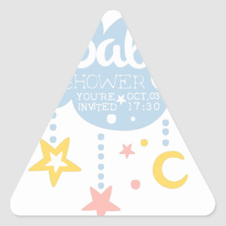 Cloud And Stars Baby Shower Invitation Design Temp Triangle Sticker