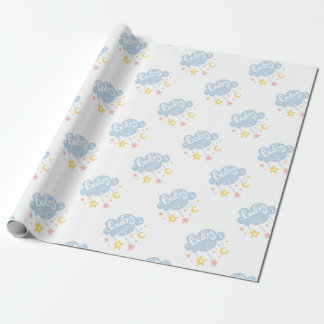 Cloud And Stars Baby Shower Invitation Design Temp Wrapping Paper