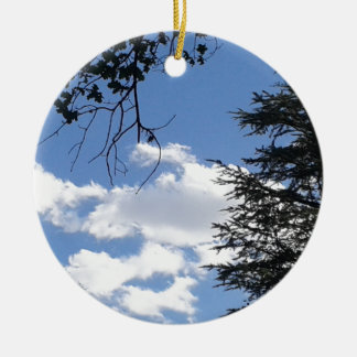 Cloud And Trees Ceramic Ornament