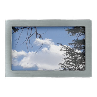 Cloud And Trees Rectangular Belt Buckle