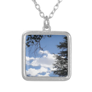 Cloud And Trees Silver Plated Necklace