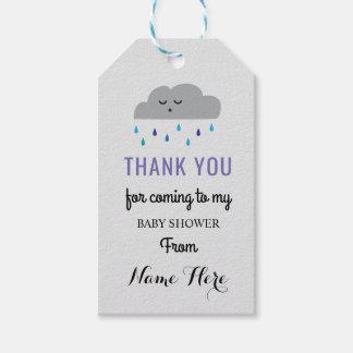 Cloud Baby Shower Rain Sleeping Boy Sprinkle Gift Tags