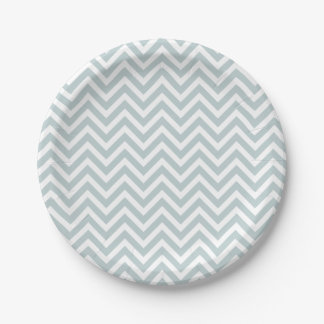 Cloud Blue and White Chevron 7 Inch Paper Plate