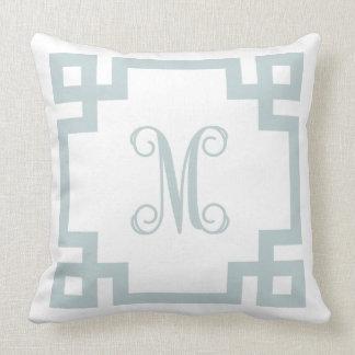 Cloud Blue and White Greek Key Script Monogram Throw Pillow