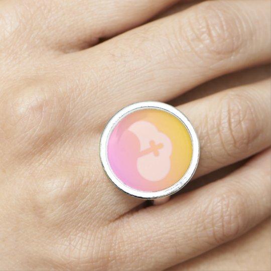Cloud Cross (peach) Photo Ring
