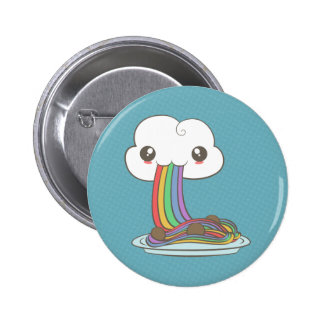 Cloud Eats Rainbow Spaghetti 2 Inch Round Button