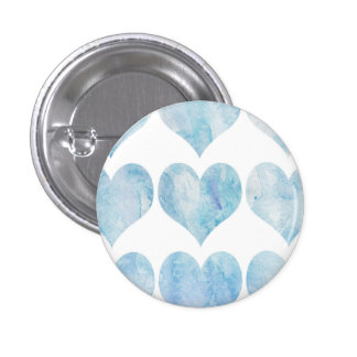 Cloud Filled Hearts 1 Inch Round Button