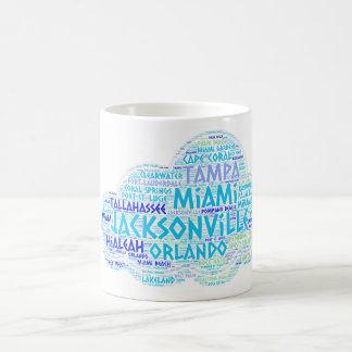 Cloud illustrated with cities of Florida State USA Coffee Mug