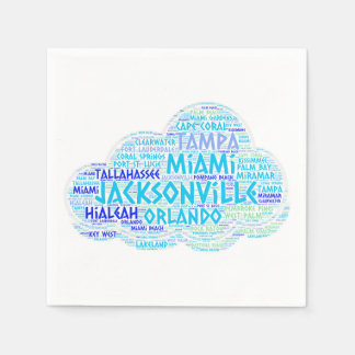 Cloud illustrated with cities of Florida State USA Disposable Napkins