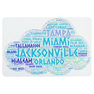 Cloud illustrated with cities of Florida State USA Floor Mat