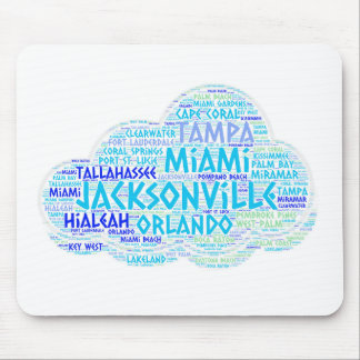 Cloud illustrated with cities of Florida State USA Mouse Pad
