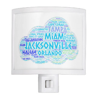 Cloud illustrated with cities of Florida State USA Nite Light
