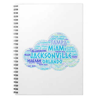 Cloud illustrated with cities of Florida State USA Spiral Notebook