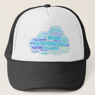 Cloud illustrated with cities of Florida State USA Trucker Hat