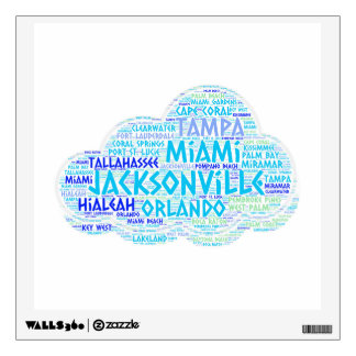 Cloud illustrated with cities of Florida State USA Wall Decal