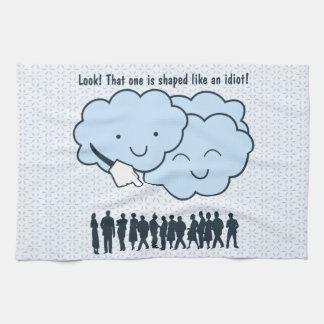Cloud Mocks Human Shapes Funny Cartoon Towel