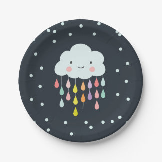 Cloud Paper Plates Baby shower Sprinkle neutral