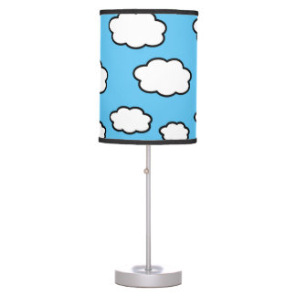 Cloud Print Blue Table Lamp