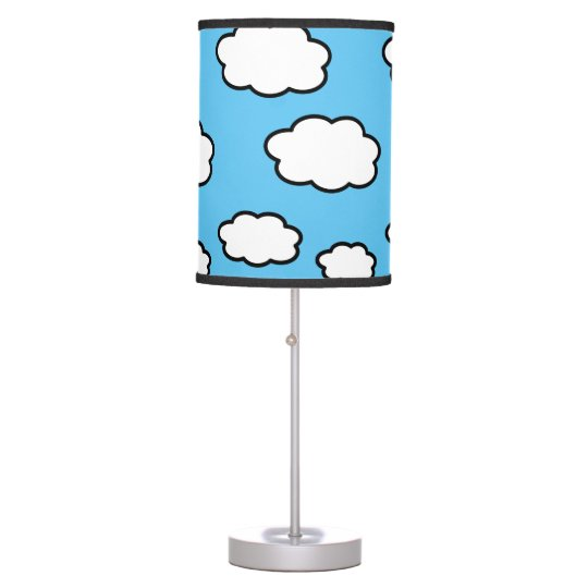 Cloud Print Blue Table Lamp