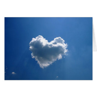 Cloud shape of a heart card