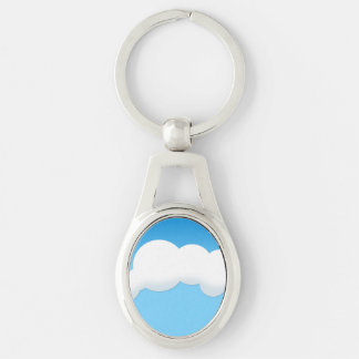 Cloud Silver-Colored Oval Keychain