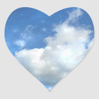 Cloud Sparkles Heart Sticker