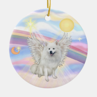 Clouds - American Eskimo Dog Round Ceramic Ornament