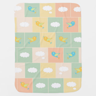 Clouds and birds baby blanket