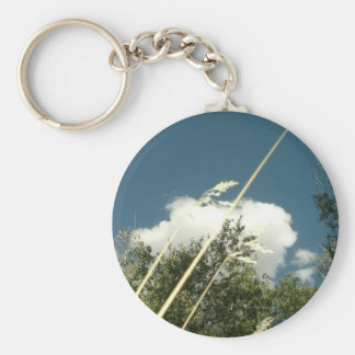 CLOUDS AND GRASS BASIC ROUND BUTTON KEYCHAIN